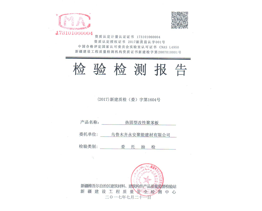 热固型改性聚苯板检验检测报告